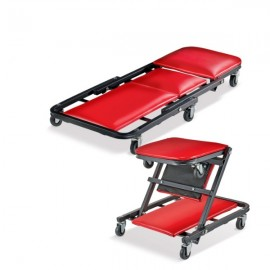 Red 36-Inch Foldable Z-Creeper 2-in-1 Creeper and Creeper Seat